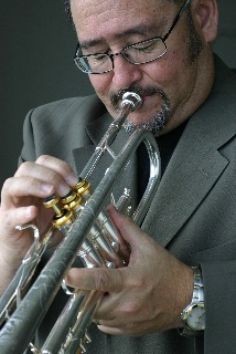 John Worley playing the trumpet