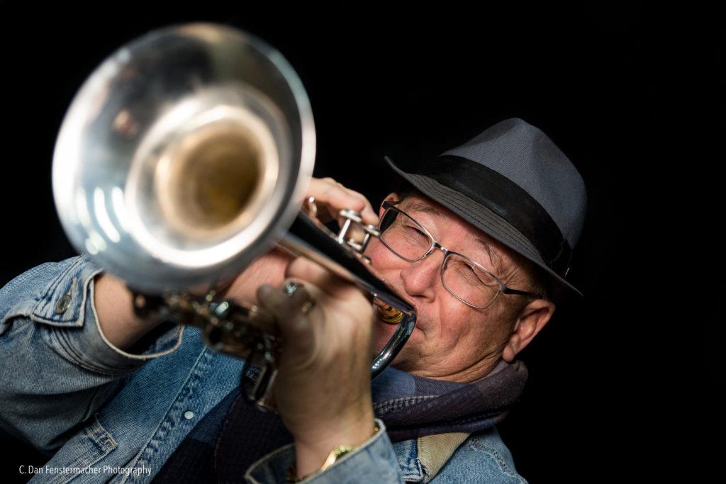 John Worley playing trumpet